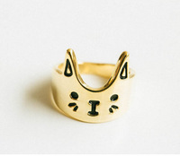 Sale one-pcs 2014 New Fashion Accessories Vintage Cat Brief Ring For Women And Men Jewelry $10 free shipping