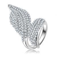 Wholesale Lord Of The Rings Platinum Plating Genuine Austrian Crystal SWA Element Leaf Shape Rings Jewellery 21*28mm Ri-HQ0009