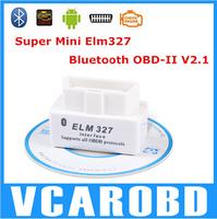 2014 SUPER MINI ELM327 Bluetooth OBD2 V2.1 White Smart Car Diagnostic Interface ELM 327 Wireless Scan Too