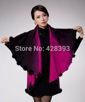 Free shipping! 2014  New Winter Women Cloak Wool Shawl Cape Sweater Cardigan Cardigan With Rabbit Fur Decoration gradient color
