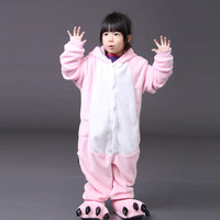 Pink color pig children sleepwear 2014 new free shipping hooded one piece unisex kids pajamas
