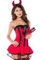 3 Pieces Adult Devilish Hottie Halloween Costume Sexy cosplay Costumes dress B6011CF