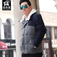 2014 new winter coat Korean version of the influx of men increase the number of yards short and fat padded hooded jacket
