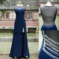 Real Picture Sheer Scoop Back Side Slit Long Navy Blue Evening Gowns Dresses