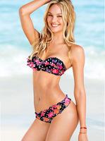 Grade A ruffle colorblock bikinis set vitoria swimwear women secret swimsuit ruched side bottom - VS 60