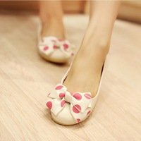 women shoes winter 2014 New spring sweet bow round flat shoes with flat shoes tendon reprint women shoes