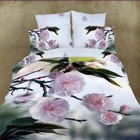 Spring love 3d effect flower bedding set  high quality 100% cotton 3d comforter/duvet/quilt cover bedsheet pillowcase set B3024