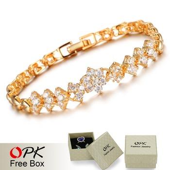 Опк новинка 18 К настоящее браслеты для женщин роскошные белые камни свадебные украшения ...