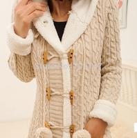 New winter maomao double row ball horn coat loose sweater cardigan