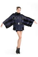 2014 Women's Genuine Mink Fur Coat Jacket Female Fur With Belt Outerwear Regualr Garment  Bottom Drawstring QD70747