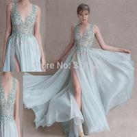Custom Made A-line High Neck Sheer Beaded Top High Slit Flowing Chiffon Sexy Long Prom Dress Vestido Festa Longo 2015