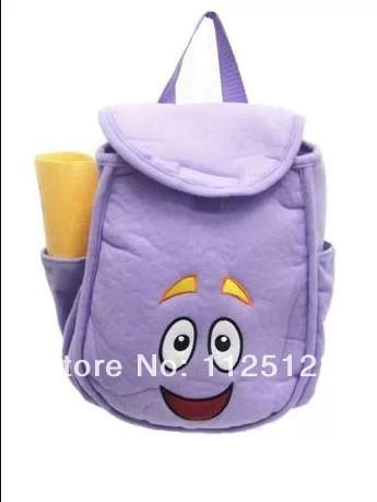 Dora the Explorer Plush Backpack pré escola bolsa criança tamanho bolsa de ombro crianças saco roxo(China (Mainland))