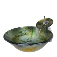 Bamboo Style Antique Round Tempered Glass Vessel Sink With Waterfall Faucet and Pop-Up Drain 4160-1