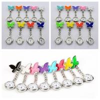 Pocket Medical Nurse Fob Watches Clip-on Pendant Hanging Quartz Clock Butterfly Shape Ladies Watch 100PCs DHL