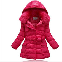 2014 Hot selling Fashion Fur hooded Double breasted girls winter coat long down jacket child snowsuits with Bow belt 5 colors