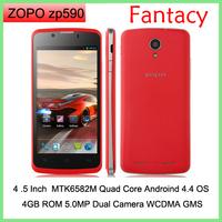 ORIGINAL ZOPO ZP590 Android 4.4 Kitkat Smartphone MTK6582M Quad Core 4.5 Inch QHD IPS Screen 5.0MP Camera WIFI GPS Multi-Colors
