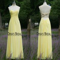 Custom Made Cheap Beaded Sweetheart Chiffon Yellow Evening Dresses 2014 Free Shipping