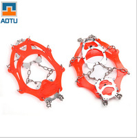 Outdoor crampons 12 teeth winter snow shoe hiking portable Gordon chain of men and women of ice spikes caught AT8605