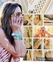 2Pcs Gold Temporary Tattoos Flash Tats Jewelry Inspired