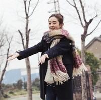 2014 New Fashion Thick Warm Wool Scarf Colorful Stripe Winter 200*70 CM Wine,Black,Purple,Pink,Blue 31409