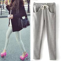 2014 Women sport pants, fitness yoga pants, new fall cotton pockets Korea style slim casual trousers, female sweatpants