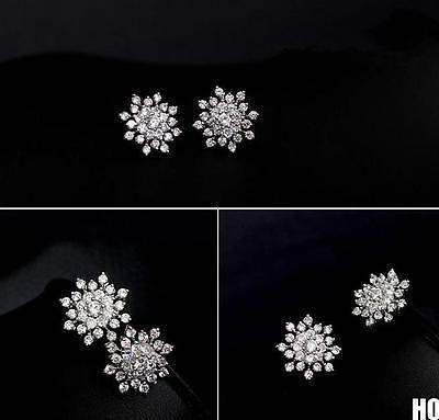 New 2014 1 Pair Fasion Snowflake Jewelry Crystal Starburst Statement Stud Earrings(China (Mainland))