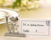 2014 New Free Shipping 100PCS/LOT Silver Love heart Place Card Holder Wedding Decoration Accessory