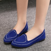 winter 2014 Spring casual shoes low heel flat shoes fashion shoes female punk style rivets students