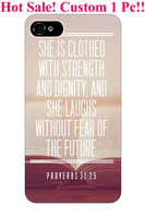 vintage proverbs 31:25 christian bible verses quotes theme pattern print protector cover sleeve cases for apple iphone 5 5S 5G