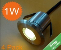 LED Underground Light LED Deck Light +Stainless Steel Finished+ IP68 +1Watt +6 Colors For Option+ 4 pcs/Lot + Free Shipping