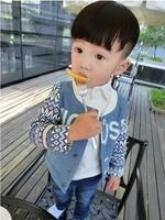 Free Shipping Wholesale (5 Size/Lot) New 2014 Childrens Kids Boys Autumn Fashion Personality Denim Color Cardigan Jacket