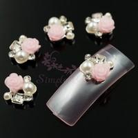 20pcs/lot 9x10MM Irregular Unique Resin Pink Rose Flower Faux Pearl Crystal Rhinestones 3D DIY Nail Art Craft Design Decorations