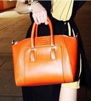 2014 New Fashion Women Shoulder Diagonal Bags Cross Body Big Handbags Noble Black,Ivory,Champagne Orange Office Temperament31410