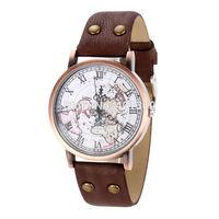Dropship,Map Pattern Student Men Casual Dress Watch Revit with PU Leather Quartz Watch Analog Wrist Watches Clocks