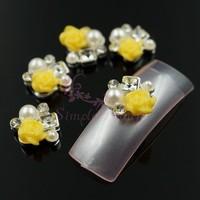 20pcs/lot Unique 9x10mm Alloy Resin Yellow Rose Flower Salon Acrylic UV Gel Tips Decorations 3D Craft Nail Art DIY Accessories