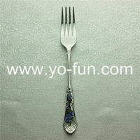 *DHL free shipping 20pc/lot JJM002 screen printing blue flower stainless steel dessert forks