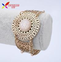 New arrival 2014 fashion retro gold hollow alloy faux white turquoise stone costume bracelet & bangles for women bijoux