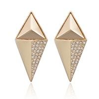 2014 new fashion Punk Gold Alloy Triangle Rhinestone clubwear jewelry statement ear drop earrings for women brincos bijoux