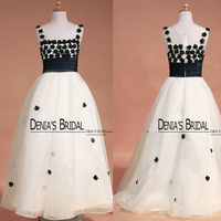 Free Shipping Real Actual Picture White with Black Girl's Glitz Pageant Dresses