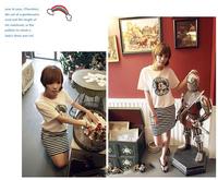 2014 New Hot Sale vestido verao Free Shipping women ladies summer casual dresses Short-sleeved Striped  women's dress