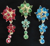 sps041 cute colorful flower diamond embroidered islamic higabs pins with pendant can be used as bonnet cap pendant