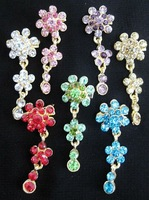 sps042 cute colorful flower diamond embroidered iscarf pins with pendant can be used as bonnet cap pendant