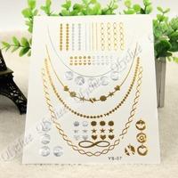 New 9 Kinds Pattern Metallic Tattoos Gold & Silver Temporary Bling Flash Tats 1 Sheet