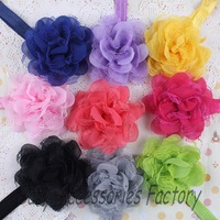 20pcs 12colors Novelty Infant Elastic Headband Baby Mesh Lace Chiffon Flower Headband Newborn Hair Band Hair Apparel Accessories