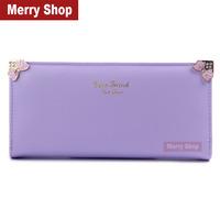2014 Women Brand Wallets PU leather Lady Bowknot purse coin purse fashion cartoon cute puppy women's long wallet