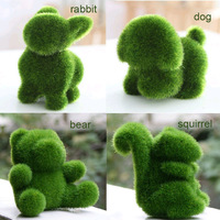 4PCS Creative Artificial Cute Simulate Green Grass Land  Animals for Home Office Decor Gift Crafts, reduce Eye Fatigue