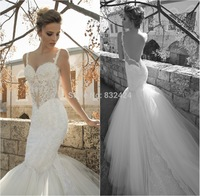 Imported See Through Corset Wedding Dresses With Long Trains Vestidos De Noivas Baratos Low Cut Back Tulle Bridal Gowns 2014_bri