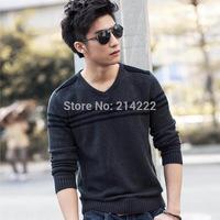 2014 autumn new men sweater men's V-neck sweater knit Korean fashion boutique striped sweater wholesale