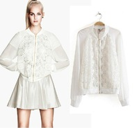 European Station New CBRL2014 European and American casual fashion solid color zipper jacket stitching lace chiffon women