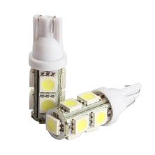 Good Quality 2PCS 194 168 W5W T10 9SMD-5050 LED White Light Car Tail Lamp Bulb Bright GUB#(China (Mainland))